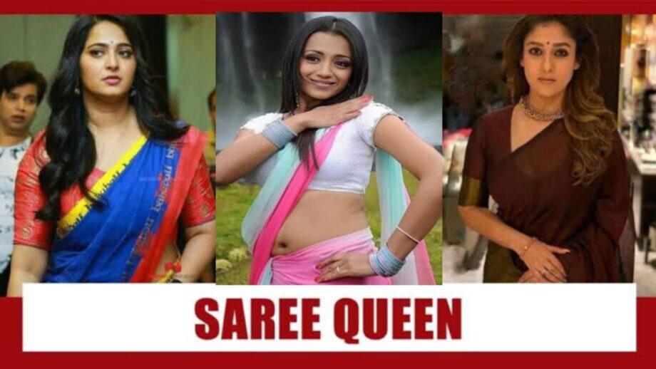 [Sexy Actress In Sequin Saree] अनुष्का शेट्टी या तृषा कृष्णन या नयनतारा: दक्षिण की सेक्सी साड़ी क्वीन कौन है? अभी मतदान करें 2