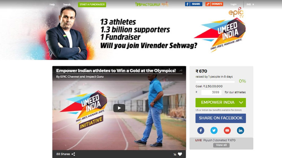 EPIC Channel's Umeed India launches crowdfunding initiative with ImpactGuru.com to empower athletes