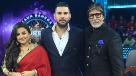 Vidya Balan and Yuvraj Singh inKaunBanega Crorepati 9 7