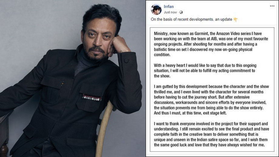 Ailing Irrfan Khan opts out of Amazon Prime's Gormint