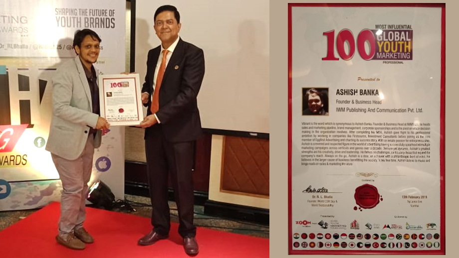 IWMBuzz Co-founder and Business Head Ashish Banka amongst Top 100 Most Influential Global Youth Marketing Professionals