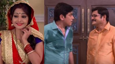 Angoori hides her face from Tiwari and Vibhuti in Bhabhiji Ghar Par Hai