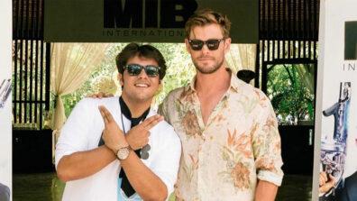 Ashish Chanchlani strikes a pose with Thor Chris Hemsworth