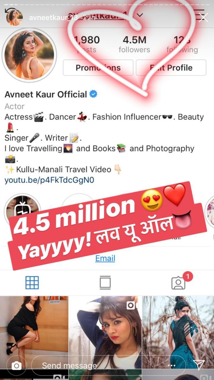 Avneet Kaur completes 4.5 million followers on Instagram 1