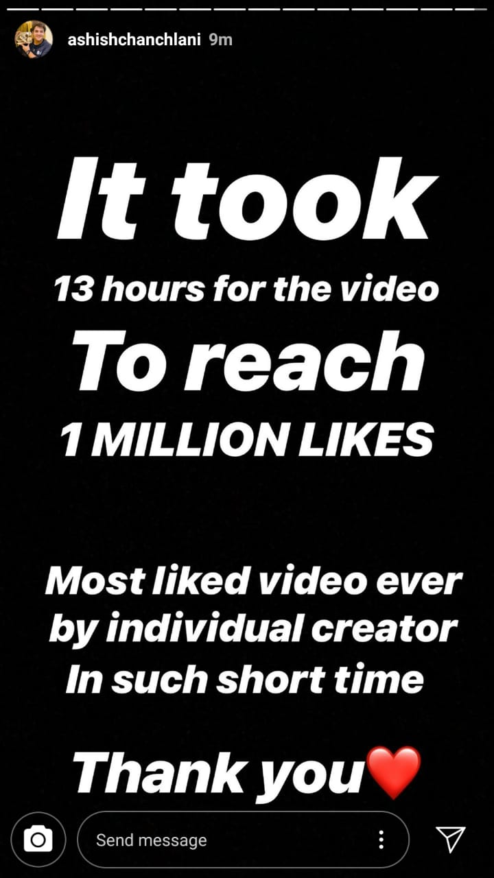 Ashish Chanchlani video hits 1 million likes in just 13 hours 2