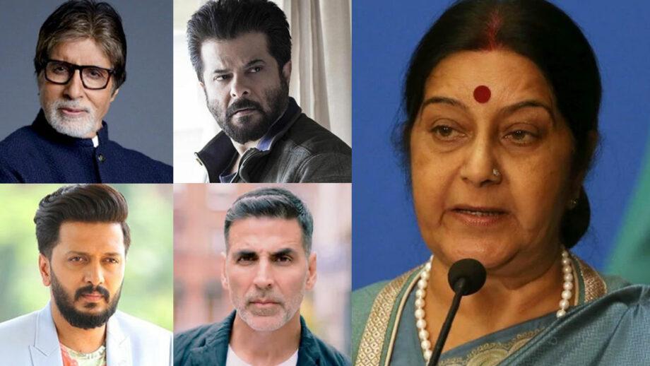 Bollywood mourns the death of Sushma Swaraj