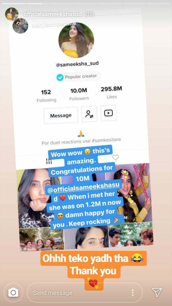 Sameeksha Sud hits 10 million followers on TikTok