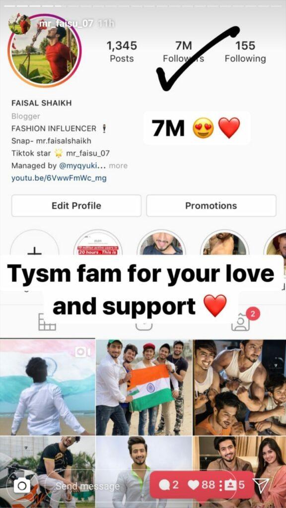 TikTok star Faisu hits 7 million on his Instagram