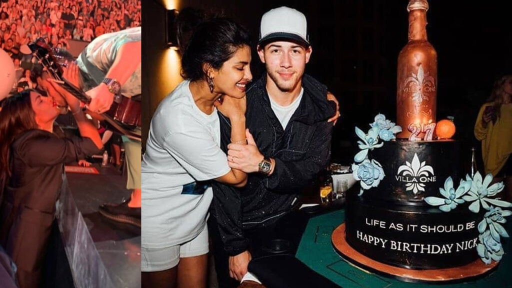 Nick Jonas gets a surprise birthday cake and kiss from wifey Priyanka Chopra