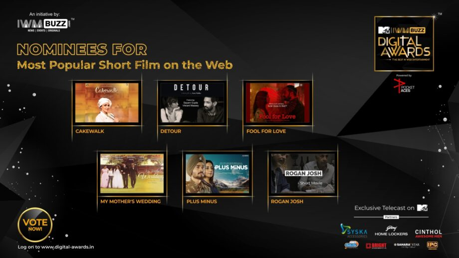 Vote Now: Which Is The Most Popular Web Short Film (under 60 mins)? Cakewalk, Detour, Fool for Love, My Mother's Wedding, Plus Minus, Rogan Josh 1