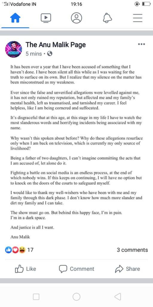 Anu Malik cries for justice