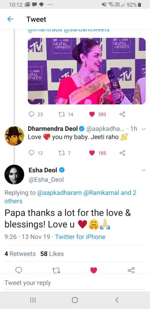 MTVIWMBuzzDigitalAwards: Papa Dharmendra is proud of Esha Deol's victory 1