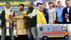 Rahul Kumar Tewary hands over a fully equipped Cardiac Ambulance to the Federation of Western India Cine Employees