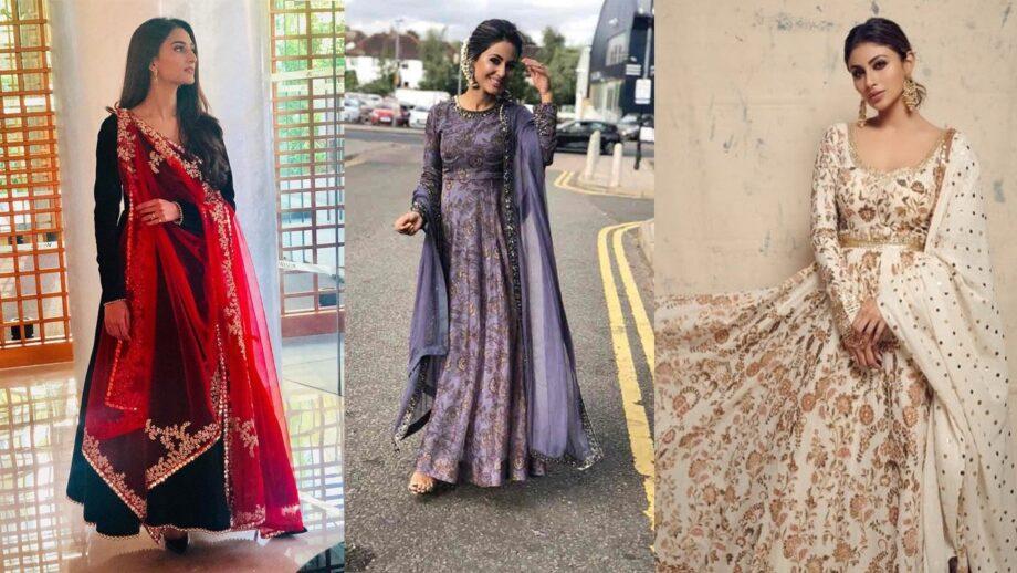 Erica Fernandes Vs Hina Khan Vs Mouni Roy: Who Looks Ravishing In multi-layered Anarkali Suit?