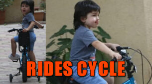 Cuteness alert: Taimur Ali Khan goes for a bicycle ride