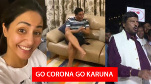 Hina Khan's father takes a leaf out of Ramdas Athawale's chant and sings Corona Go