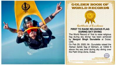 Navjyot Gurudatta - Rasised Nishan Sahib at 13000 feet above sea level during sky diving in dubai, is now certified World Record Holder