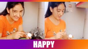 Ashnoor Kaur jumps in joy, breaks an egg: Watch funny video