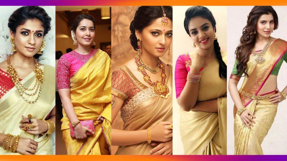 Nayanthara, Raashi Khanna, Anushka Shetty, Sreemukhi, Samantha Akkineni: Celebs Dazzle In Gold Sarees