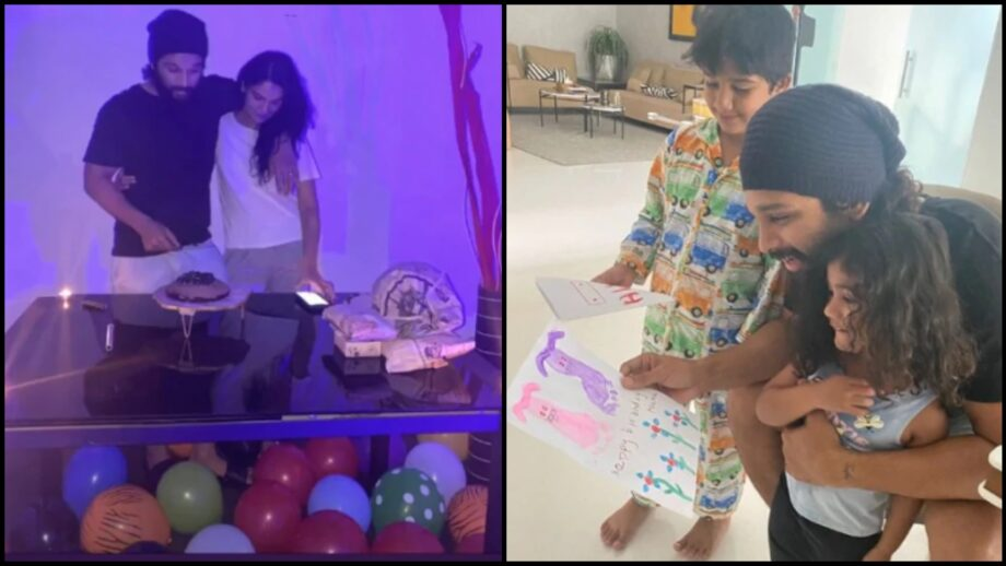 Quarantine Celebration: How Allu Arjun cut the birthday cake with wife Sneha and kids