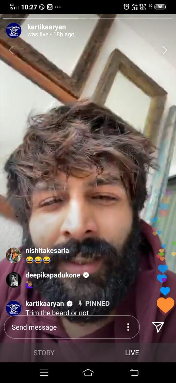 Aww: Kartik Aaryan 'confused' about his beard look, Deepika Padukone wants him to trim it