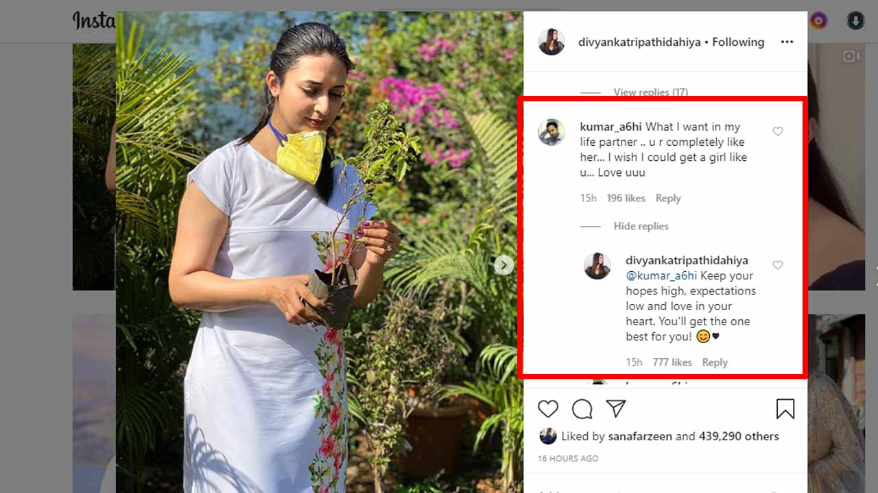 Hopes high, expectations low: Divyanka Tripathi's message to fan who wanted her as 'life partner'