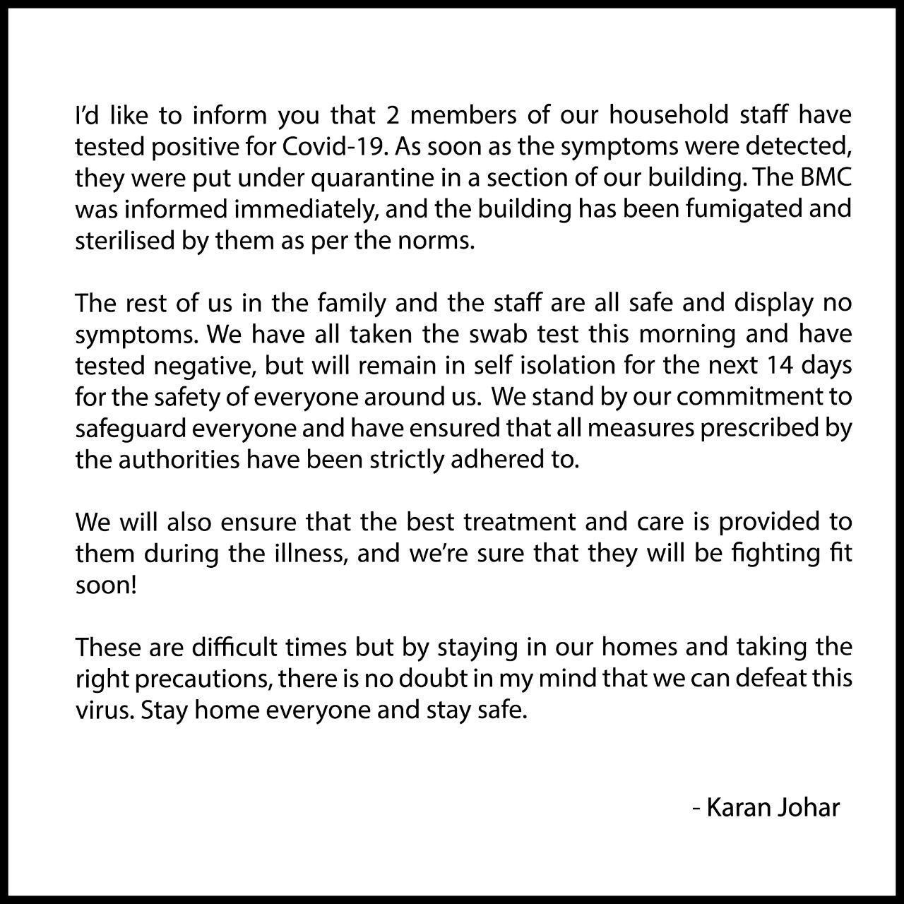 OMG: 2 household staff of Karan Johar now test 'positive' for COVID-19