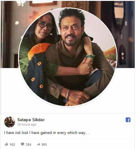 Read Now: Emotional and heartfelt message of Irrfan Khan's wife Sutapa Sikdar