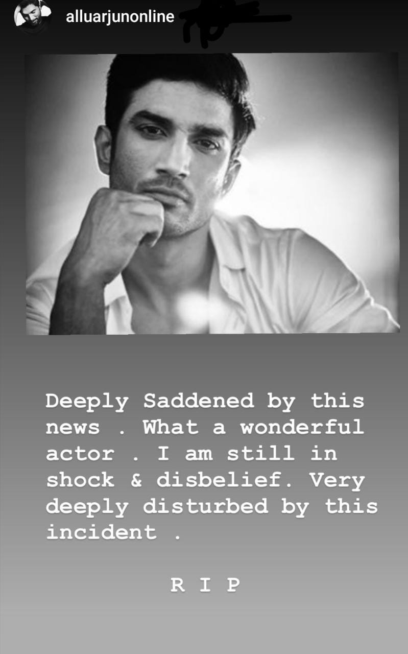 Allu Arjun is at a loss of words over Sushant Singh Rajput's death