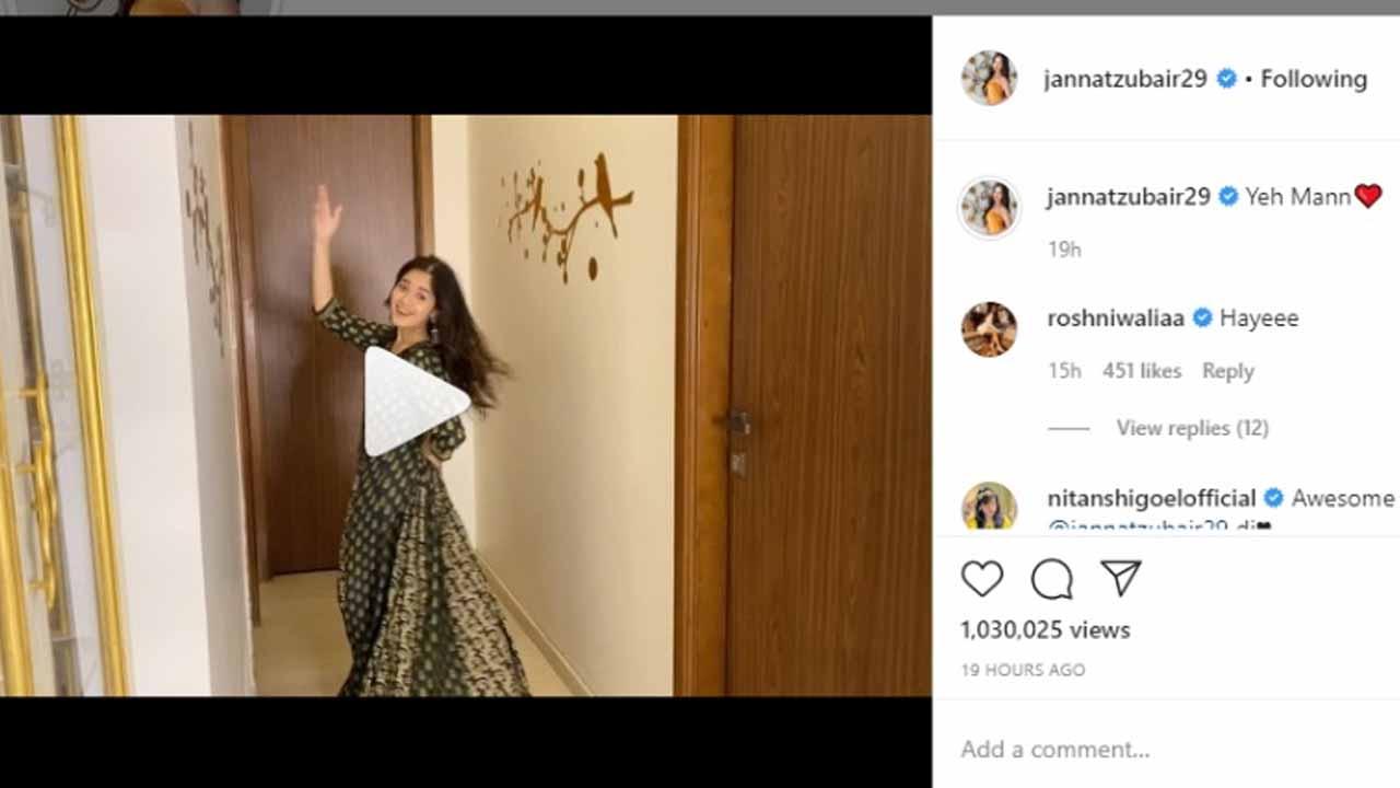 Jannat Zubair shares latest dance video, Roshni Walia comments 'hayeee'
