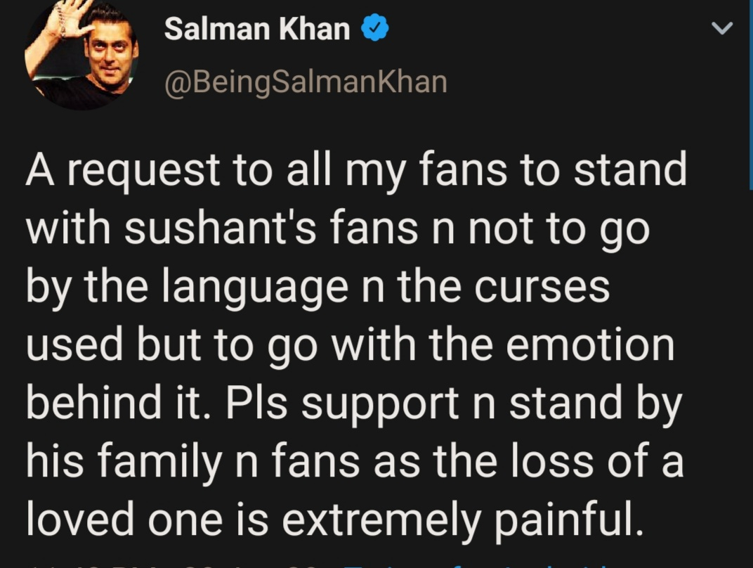 Support Sushant's family and fans, ignore curses, go by emotions, personal loss is painful: Tweets Salman Khan setting internet on fire