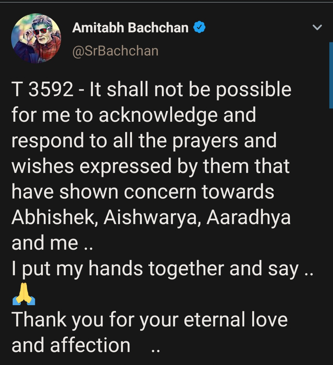 Thank you for the love' - Amitabh Bachchan thanks fans for the love during Coronavirus crisis