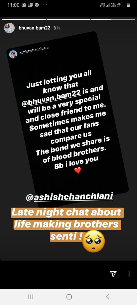 """""""The bond we share is of blood brothers, Bb I love you"""", Ashish Chanchlani posts heartwarming message for Bhuvan Bam"""