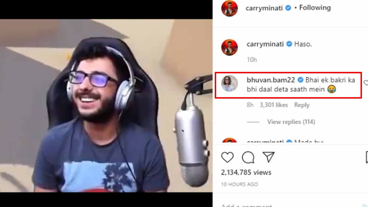 CarryMinati shares a funny video, Bhuvan Bam drops a hilarious comment