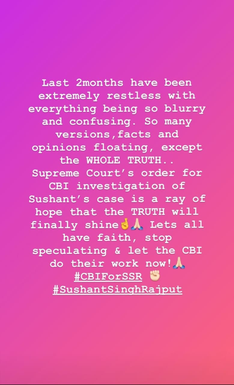 'Truth will finally shine' - Kriti Sanon's emotional note as she hails Supreme Court verdict on CBI for Sushant Singh Rajput