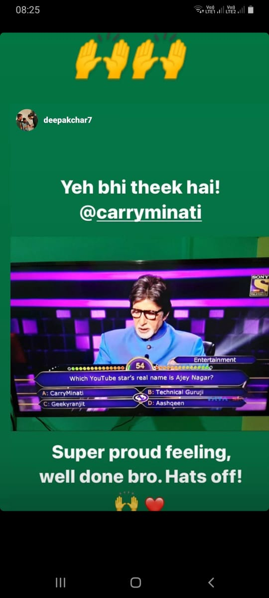 CarryMinati's epic moment with Amitabh Bachchan