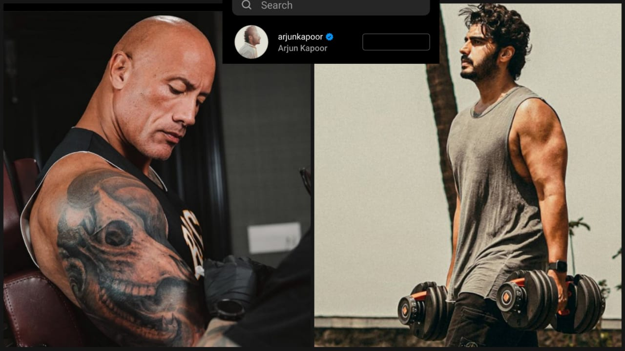 Dwayne Johnson Aka The Rock Flaunts His Big Bicep Tattoo Arjun Kapoor Is In Awe Iwmbuzz