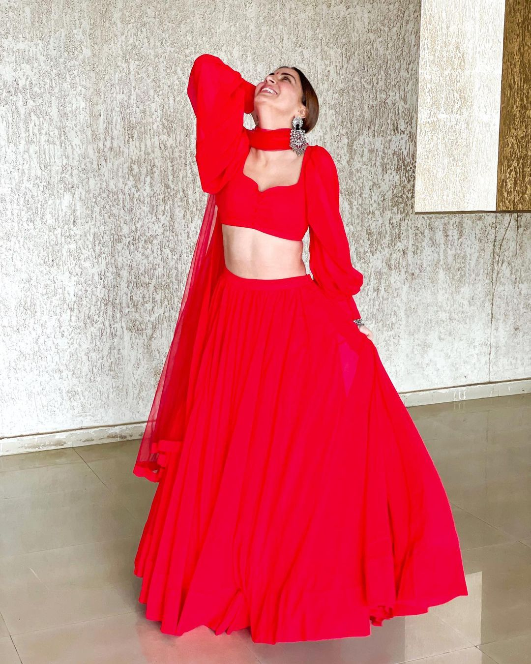 What A Beauty: Shraddha Arya looks gorgeous in red ethnic blouse and lehenga, does a gorgeous spin to mesmerize fans   IWMBuzz